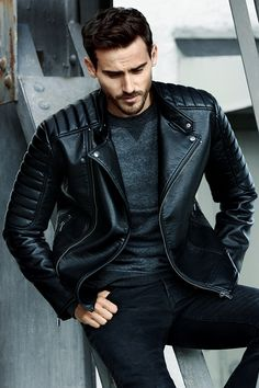 Unleash your inner rebel with a classic & edgy black biker jacket.│ H&M…