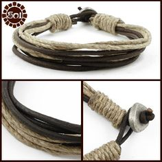 Men's hemp and leather cord bracelet