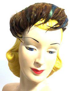 Jewel Tone Pheasant Feather Wired Hat circa 1950s - Dorothea's Closet Vintage