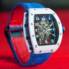 Pretty much the very first custom strap I see for an Richard Mille - electric blue suede croc by on this 'White Rush'. Sport Watches, Cool Watches, Wrist Watches, Men's Watches, Most Beautiful Watches, Piguet Watch, Richard Mille, Luxury Watches For Men, Electric Blue