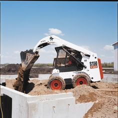 """Bobcat calls its S150 """"a great entry level"""" skid steer. It has an operating load of 1,500 pounds and Bobcat says its radius lift path is designed for excavating and earthmoving.    Full specs:  http://www.specguideonline.com/product/bobcat-s150  #construction #equipment #skidsteers"""
