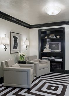 I don't know why, but I'm really digging this black trim, with the grey walls. Trim is Deep Caviar 2130-20 Wall color Silver Lining 2119-60 Looks like a glaze may have been used.