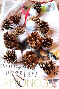 DIY pinecones using natural tealight candles and pinecones from the woods by katescreativespace