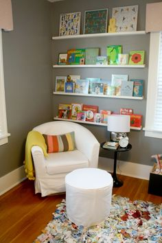 Baby Bowden's Nursery from Project Nursery - I didn't love the entire Nursery BUT I adore this little reading corner. A must have, especially for my kid's room.