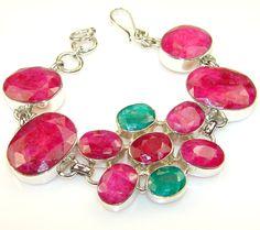 $153.62 Grown+Jewel+Ruby+Sterling+Silver+Bracelet at www.SilverRushStyle.com #bracelet #handmade #jewelry #silver #ruby