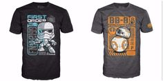 "Perfect gift for Dad if he wears a size 2XL! Funko Pop Tees, never removed from package. Includes Grey BB-8 Speedy Delivery Comic shirt # 66, and Storm Trooper First Order Black shirt, # 71. Officially licensed, each comes with mini standee collector card inside. Size 2X is 31"" long, 25"" wide, sleeve length of 9.25"". 100% Cotton for First Order, BB-8 is 90% cotton - 10% poly. Comfy and on trend! We also have other 2 XL Hero Funko Tees listed separately, happy to combine shippin..."
