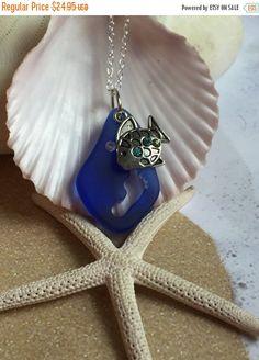 Sterling silver sea glass necklace beach glass by SeasideJewelry1