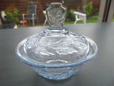 """Blue Glass Trinket Pot, Art Deco Pressed Glass Lidded Pot, Walter August Sohne 'Waltraut' Germany, Immaculate Condition, 3.75 x 3.25"""" by BlackSquirrelHome on Etsy https://www.etsy.com/uk/listing/521392316/blue-glass-trinket-pot-art-deco-pressed"""