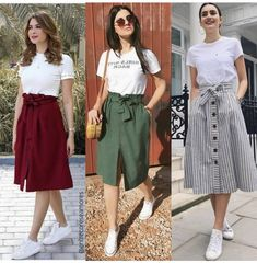 Best three outfits for August Modest Fashion, Teen Fashion, Korean Fashion, Fashion Dresses, Fashion Bags, Mode Outfits, Trendy Outfits, Summer Outfits, August Outfits