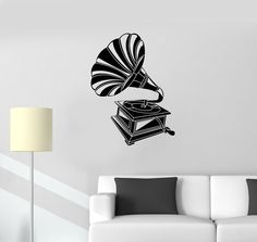 Vinyl Decal Gramophone Music Vintage Room Decoration Wall Stickers (ig2681)
