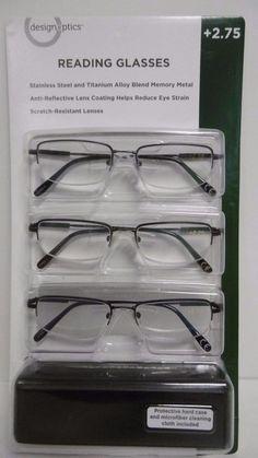 DESIGN OPTICS 3-PACK +2.75 READING GLASSES Durable Memory Flex Flexible B60-4 #DesignOptics