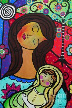 Mother and Child Painting, mother and child, baby and mom, mom and daughter, mother and son, mother and daughter, tree of life, peace, love, unconditional love, heart, eye, protector, evil eye, florals, flowers, abstract, prisarts, pristine cartera turkus, megan
