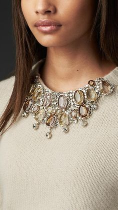 A Sweater with it's own #Necklace. cream #cashmere #sweater with gem embellished neckline.
