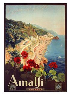 Vintage Italian Posters ~ amalfi-mario-borgoni-italian-travel-poster-1927 by…
