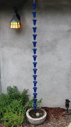 8' Sapphire Cups Aluminum Rain Chain