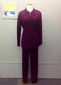 DIVA by DANA BUCHMAN Purple Soft Wool/Pullover Pant-Zippered Jacket Set MixSz. Help The Anne Douglas Center Boutique-Great buys funding good works. raise more funds by adding them as your favorite charity on eBay http://r.ebay.com/Hm32hT via @eBay