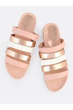 a8d06928d633 Bamboo Strappy Metallic Slide - Front Full Image Strappy Sandals