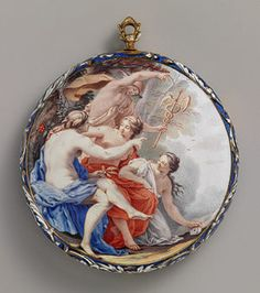 Watchcase, ca. 1645, movement ca. 1750Movement by Lambertus Vrijthoff (Dutch, recorded 1724-66, died 1769)French (probably Paris)Case and dial: painted enamel on gold; Movement: gilded brass and steel, partly blued