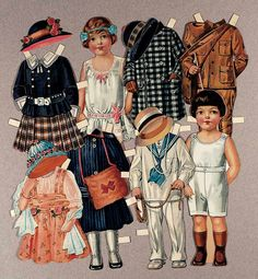 "Paper Dolls by American Colortype.  12"" girl with three costumes and three hats; boy with three costumes. Possibly ""Corinne"" and ""Howard"". Circa 1920's."