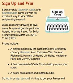 If you sign-up at ScriptFrenzy.org before the end of the month, you'll be in the running for some great prizes.