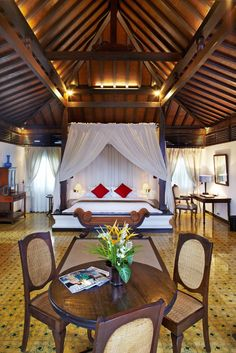 Rooms, like this Ambar Villa, have a colonial feel with romantic, spacious interiors.