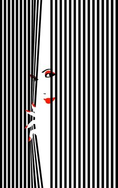I love how simple and cool this piece is.  The colors are super minimal, which helps the red stand out.  I also like the way that the woman appears to be pulling the stripes out of the photo.  I really like the use of illusion in the photo
