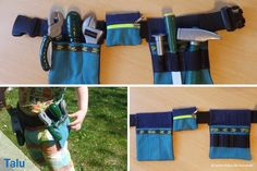 Kinder-Werkzeuggürtel selber nähen – für starke Jungs und Mädchen Your little ones like to be craftsmen themselves? This guide tells you how to sew a tool belt – so your kids will always have everything they need. Diy Crafts For Kids Easy, Crafts For Girls, Kids Tool Belt, Doll Carrier, Apron Designs, Sewing Toys, Valentine Day Crafts, Stuffed Toys Patterns, Sewing Patterns Free