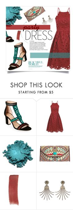 """Party Dress: Color Mix"" by sierrrrrra ❤ liked on Polyvore featuring Tamara Mellon, Chi Chi, Mary Frances Accessories, Gucci, Lanvin, red, turquoise and partydress"
