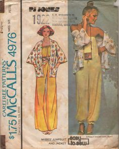 McCalls 4976 1970s Misses Easy Designer  Strapless JUMPSUIT and Loose Fitting Jacket  PJ Jones womens vintage sewing pattern by mbchills