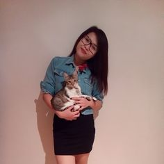 Black mini dress from Only + short denim jacket + my cat = outfit at work.