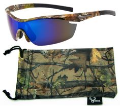 842082799abe Hornz Brown Forrest Camouflage Polarized Sunglasses for Men Wrap Around  Sport Frame   Free Matching Microfiber Pouch - 3 Pack Brown Camo Frame - Smoke  Lens