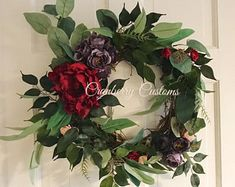 This beautiful year round wreath is made on a grapevine wreath and measures from TIP to TIP. This wreath has a mix of eucalyptus, greenery, mini pink and red rose buds, purple peony buds and a gorgeous oversized red burgundy peony. Red Hydrangea, Hydrangea Wreath, Hydrangeas, Purple Wreath, Green Wreath, Purple Peonies, Purple Flowers, Memorial Day Wreaths, Clothes Pin Wreath