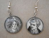 Jane Austen earrings, book page earrings, emma earrings, literary earrings, literary jewellery, valentines gift, upcyled book page