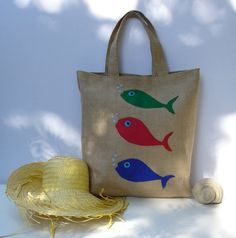 Jute Tote bag with three fish handmadeartisticapplique by Apopsis, $60.00