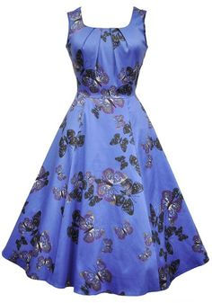 Blue Butterfly Jasmine, Circle Dress by Lady Vintage #dress #pinup #vintage…