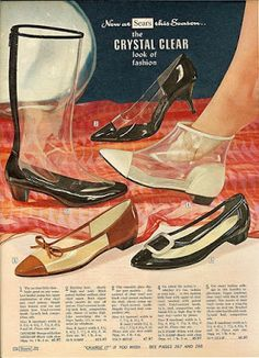 """""""New at Sears this Season: The Crystal Clear Look of Fashion."""" Transparent footwear vintage style shoes boots flats lucite plastic white black brown heels pumps photo - And you thought your feet sweat with those Jellies! Shoes Ads, Retro Shoes, Vintage Shoes, Vintage Outfits, 60s Shoes, Retro Advertising, Vintage Advertisements, Vintage Ads, Vintage Style"""