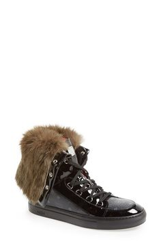 MCM Genuine Rabbit Fur & Leather High Top Sneaker (Women) available at #Nordstrom $855