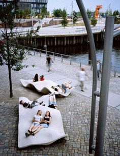 "How incredible are these benches, it looks like you could be comfortable there, unlike many of the torture devices that usually line our streets.  ""OPEN SPACE IN HAFENCITY, HAMBURG GERMANY""   -The LA Team — with Jose Miguel Rodriguez Ortiz, Maria González-Portal and Adel Oueini."