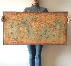 ขนาดใหญ่r etroแผนที่โลกกระดาษคราฟท์สีสติกเกอร์ติดผนังวินเทจโปสเตอร์ห้องนั่งเล่นศิลปะงานฝีมือแผนที่บาร์คา