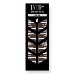 Tattify Brown and Gray Drip Nail Wraps - Rocky Road (Set of 22)