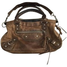 Pre-owned Balenciaga Shoulder Bag ($344) ❤ liked on Polyvore featuring bags, handbags, shoulder bags, none, pre owned handbags, brown leather shoulder bag, leather purse, brown purse y genuine leather handbags