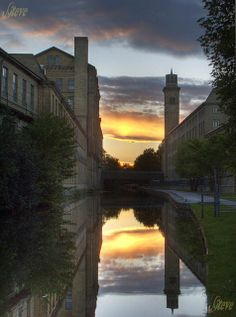 Saltaire Mills; Salts Mill and New Mill on the Leeds-Liverpool Canal, Saltaire, Brad by Steve Swis, via Flickr