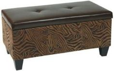 Avenue Six Detour Storage Bench.  Wild espresso eco leather with espresso finished all wood legs.  Covered in high performance, easy care fabric.    http://www.shop.com/Avenue+Six+Detour+Animal+Print+Storage+Bench+Brown+Brown+-782771908-o+.xhtml?credituser=R7990872
