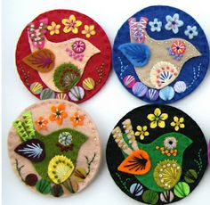 Found these exquisite felt brooches by British designer Jane Smallcombe . Jane loves all crafts and has been able to knit and crochet since. Embroidery Hearts, Felt Embroidery, Bird Crafts, Felt Crafts, Craft Websites, Felt Bookmark, Felt Brooch, Brooch Pin, African Crafts