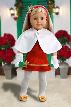 Happy Holidays - Red velvet sparkling holiday party dress with white tights, red sparkling shoes and decorative head band (Cape and Mittens sold separately) - American Girl Doll Clothes Price : $25.97 http://www.dreamworldcollections.com/Happy-Holidays-sparkling-decorative-separately/dp/B005RSYKH4