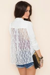 Lace Back Blazer - Ivory
