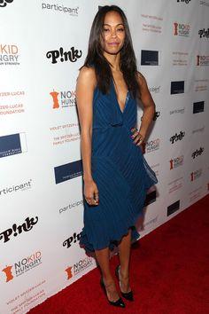 Zoe Saldana's Share Our Strength No Kid Hungry Dinner Chloé Spring 2014 Blue Plissé V Neck Dress