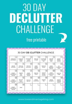 30 Day DeClutter Challenge - Love and Marriage This 30 day declutter challenge will get your home back in order without feeling like a never ending job. Perfect for getting clutter free for the holidays. Cleaning Challenge, Cleaning Hacks, Cleaning Checklist, Deep Cleaning, All You Need Is, Fixer Upper, Declutter Your Life, Declutter House, Little Bit