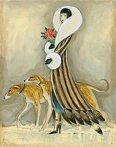 art deco dog pictures | ... LURCHER Glamour Fashion Dog Fine Art Print Art Deco Style | eBay