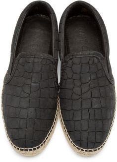 Jimmy Choo Black Croc Vlad Espadrilles